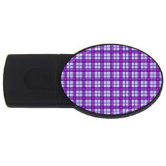 Purple Tartan Usb Flash Drive Oval (2 Gb)