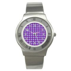 Purple Tartan Stainless Steel Watch