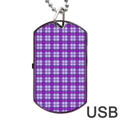 Purple Tartan Dog Tag Usb Flash (one Side)