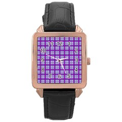 Purple Tartan Rose Gold Leather Watch