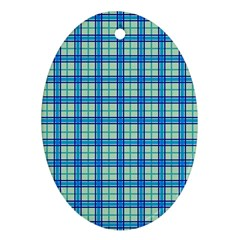 Sea Tartan Ornament (oval)