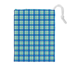 Sea Tartan Drawstring Pouches (extra Large)