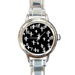 White Cross Round Italian Charm Watch