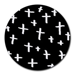White Cross Round Mousepads