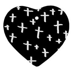 White Cross Ornament (heart)