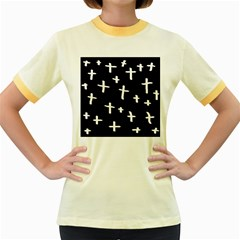 White Cross Women s Fitted Ringer T Shirts