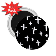 White Cross 2 25  Magnets (100 Pack)