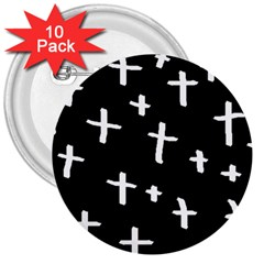 White Cross 3  Buttons (10 Pack)