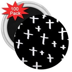 White Cross 3  Magnets (100 Pack)