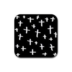 White Cross Rubber Coaster (square)