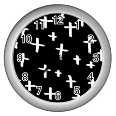 White Cross Wall Clocks (silver)