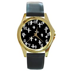 White Cross Round Gold Metal Watch
