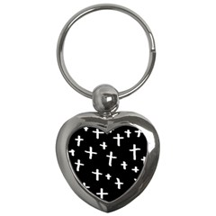 White Cross Key Chains (heart)