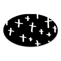 White Cross Oval Magnet