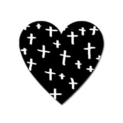 White Cross Heart Magnet