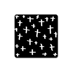 White Cross Square Magnet