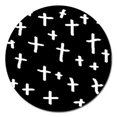 White Cross Magnet 5  (round)