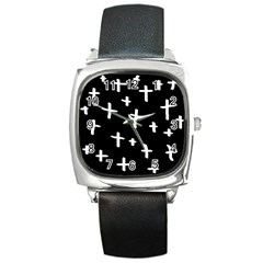 White Cross Square Metal Watch