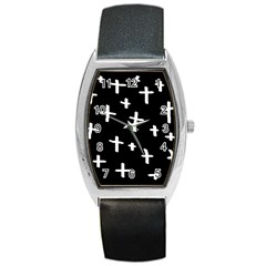 White Cross Barrel Style Metal Watch