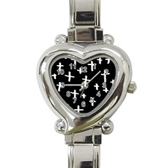 White Cross Heart Italian Charm Watch
