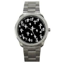 White Cross Sport Metal Watch
