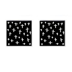 White Cross Cufflinks (square)