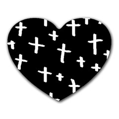 White Cross Heart Mousepads