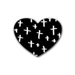 White Cross Rubber Coaster (heart)