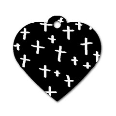 White Cross Dog Tag Heart (one Side)