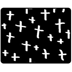 White Cross Fleece Blanket (medium)