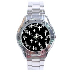 White Cross Stainless Steel Analogue Watch