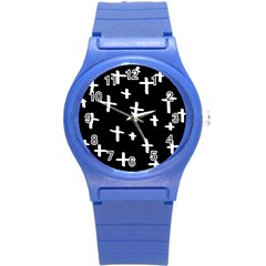 White Cross Round Plastic Sport Watch (s)