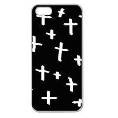 White Cross Apple Seamless Iphone 5 Case (clear)