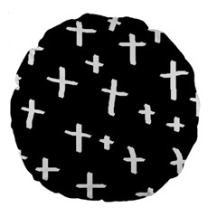 White Cross Large 18  Premium Round Cushions