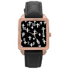White Cross Rose Gold Leather Watch