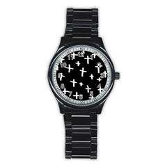 White Cross Stainless Steel Round Watch