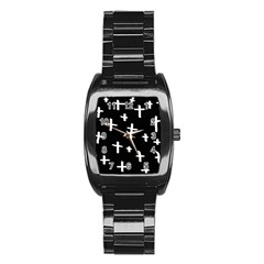 White Cross Stainless Steel Barrel Watch