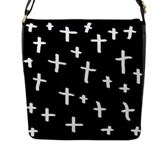 White Cross Flap Messenger Bag (l)