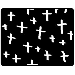 White Cross Double Sided Fleece Blanket (medium)