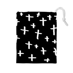 White Cross Drawstring Pouches (large)