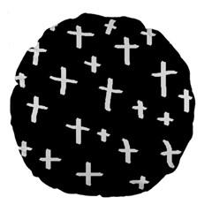 White Cross Large 18  Premium Flano Round Cushions