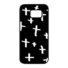 White Cross Samsung Galaxy S7 Edge Black Seamless Case