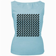 Angry Girl Pattern Women s Baby Blue Tank Top