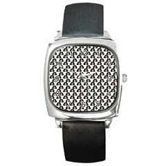 Angry Girl Pattern Square Metal Watch