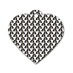 Angry Girl Pattern Dog Tag Heart (two Sides)