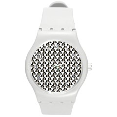 Angry Girl Pattern Round Plastic Sport Watch (m)