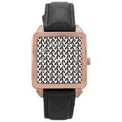 Angry Girl Pattern Rose Gold Leather Watch