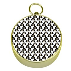 Angry Girl Pattern Gold Compasses