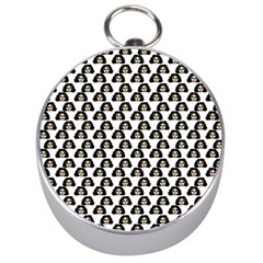 Angry Girl Pattern Silver Compasses