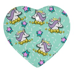 Magical Happy Unicorn And Stars Ornament (heart)